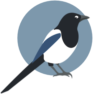 logo of a magpie with blue highlights